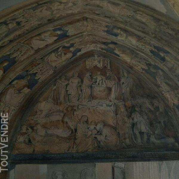 Tres belle eauforte effet crayon 19 ème cathédrale de