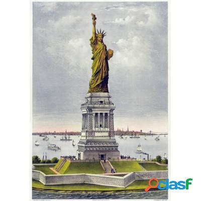 Affiche currier & ives: la statue de bartholdi, la liberté éclairant le monde, 1885