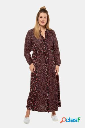 Robe longue, imprimé floral, lien à nouer - grande taille