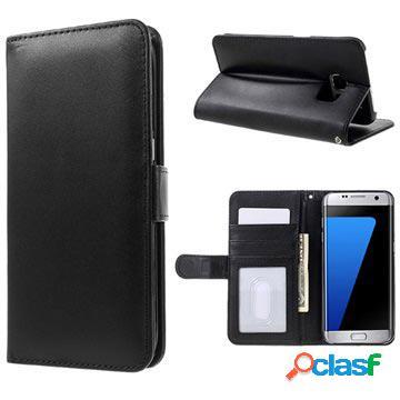 Étui portefeuille premium samsung galaxy s7 edge avec fonction de support - noir