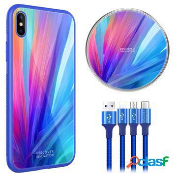 Coque iphone xs max / chargeur sans fil / câble 3-en-1 nillkin fancy - bleu