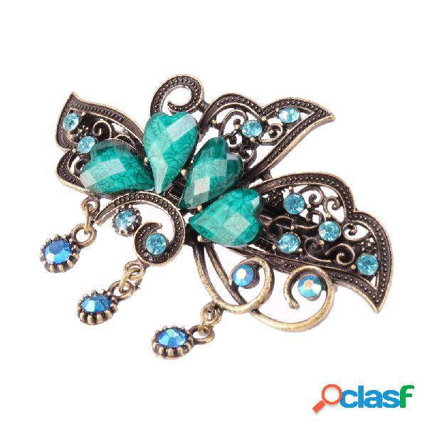 Barrette ethnique motif papillon pince à cheveux rétro avec pierres colorées épingle pour fille femme
