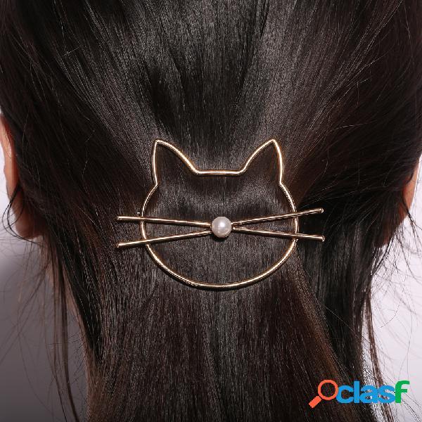 Barrette fashion creuse en forme d'animal mignon chat à perle décorative accessoire des cheveux pour femme