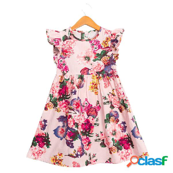 Summer floral girls dress toddler kids vêtements de coton décontractés sans manches pour 2y-11y