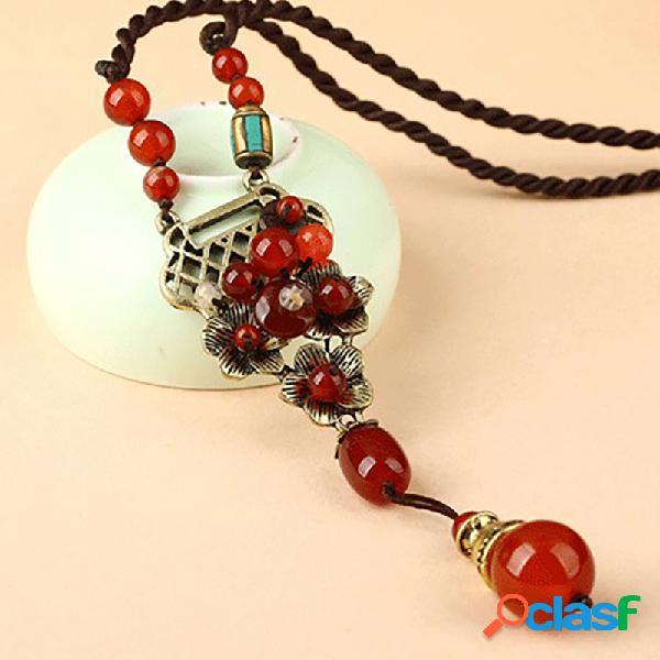 Collier en alliage d'agate rouge vintage collier ethnique de style long pour les femmes