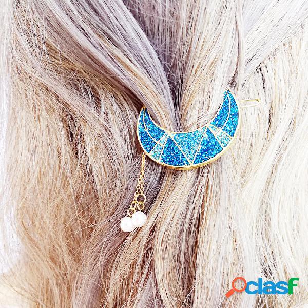 Barrette douce charmante en forme de lune brillante à frange de perles accessoire des cheveux