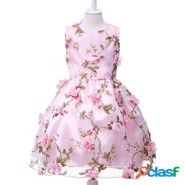 Robe princesse sans manches à fleurs avec col rond pour fille