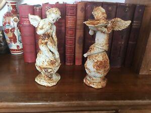 Paire d'angelots chérubins puttis en fonte de fer sur