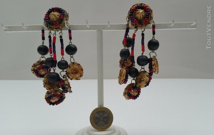 Boucles oreille clips chapeaux paille tressée perles