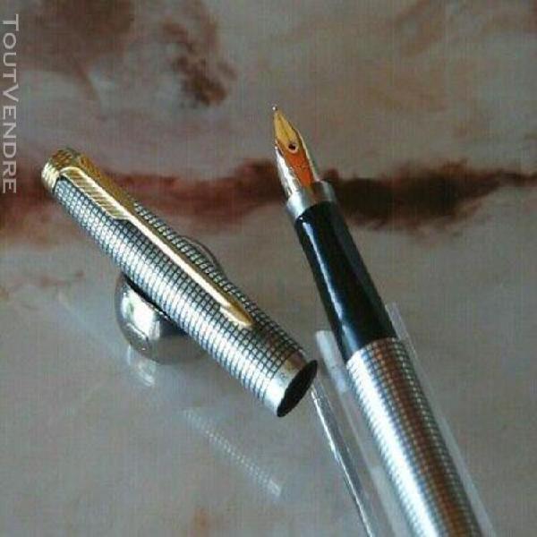 Stylo plume parker 75 ciselé argent massif plume or taille