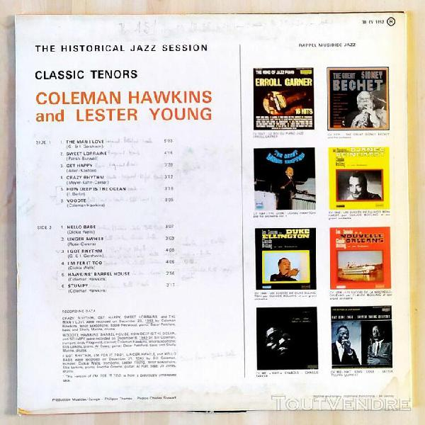 Disque vinyle coleman hawkins and lester young classic tenor