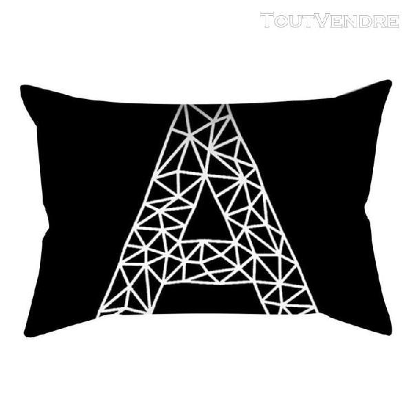 Housse de coussin géométrique rectangle noir/blanc, pour