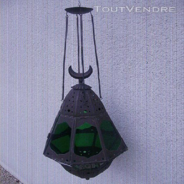 Lanterne suspension pour bougie métal et vitraux
