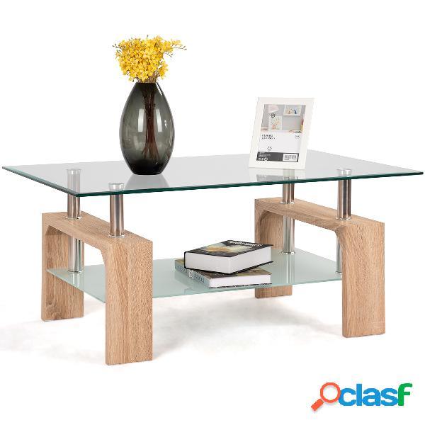 Costway table basse table d'appoint de salon avec etagère inférieure 100 x 60 x 45 cm bois naturel