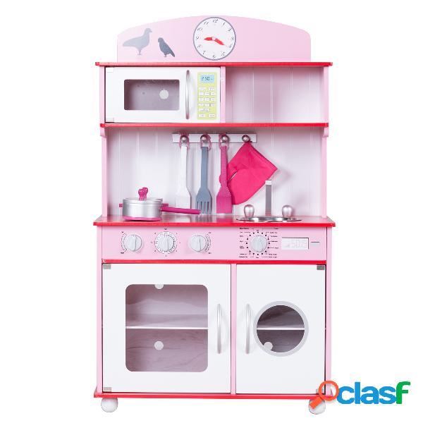 Cuisine pour enfant en bois cuisine de jouets cuisine de jeux cuisine éducatif rose vert -rose