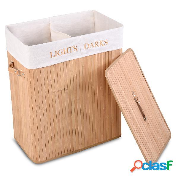 Panier à linge sac à linge corbeille en bambou 2couleurs au choix 100l 52x32x63cm -nature