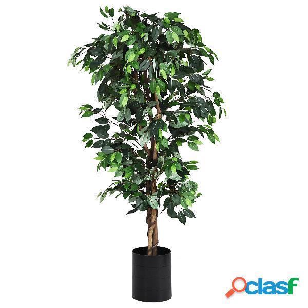 Costway arbre artificiel grand ficus 180 cm avec cannes pour décoration 1008 feuilles