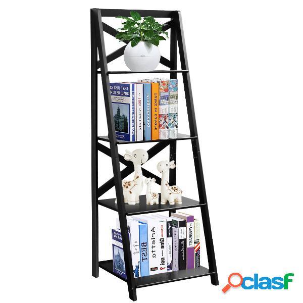 Costway échelle d'etagère en bois échelle bibliothèque style moderne avec 4 tablettes noir