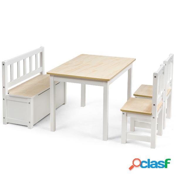 Costway ensemble table 2 chaises 1 banc de rangement en bois pour enfants 3 - 7 ans