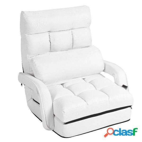 Costway fauteuil convertible chauffeuse convertible 1 place en tissu gris avec oreiller 5 positions blanc
