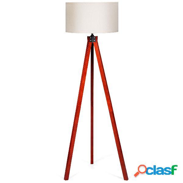 Costway lampadaire en bois trépied 152 5cm avec abat-jour en lin commutateur au pied style scandinave lampe e27