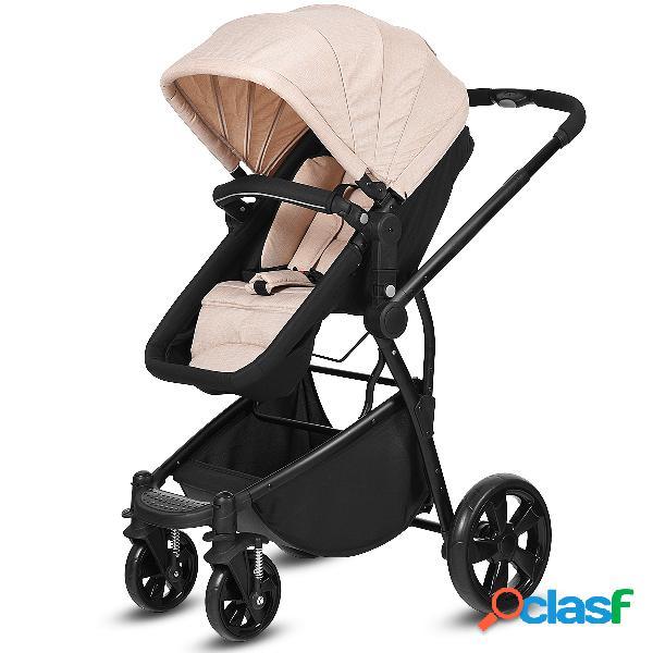 Costway poussette bébé combiné 2 en 1 canne landau pliable pour 0 - 36 mois beige