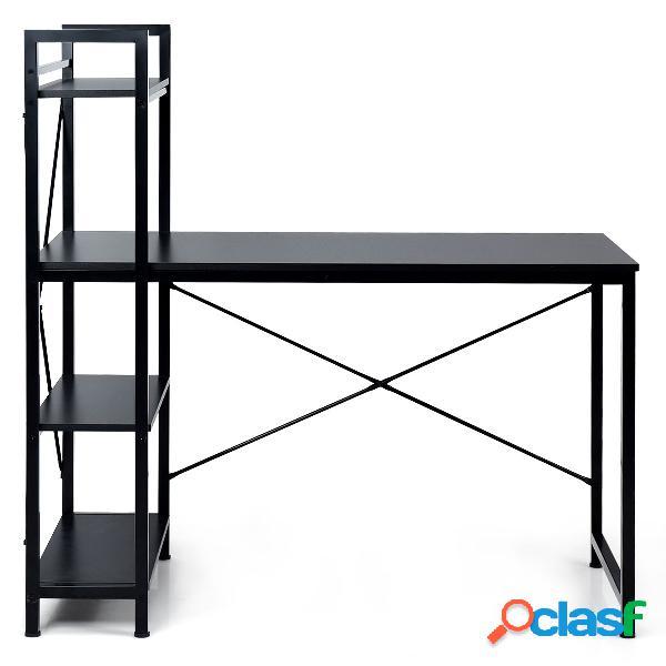 Costway table de bureau avec etagère ajustable capacité de support 110kg 120 5 x 61 x 122cm noir