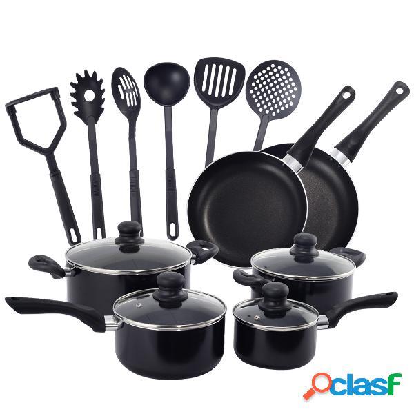 Lot de 16 ustensiles de cuisine batterie cuisine casserole cuisine pot cuisine en aluminium et nylon poêle antiadhésive