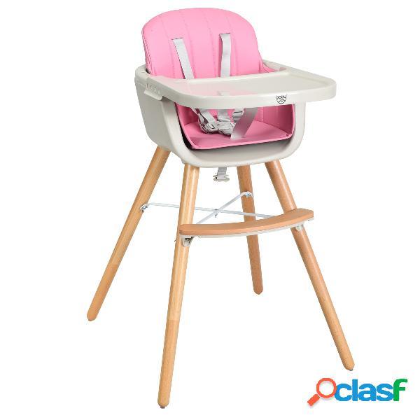 Costway chaise haute evolutive en bois pour bébé 2 en 1 avec 3 hauteurs rose