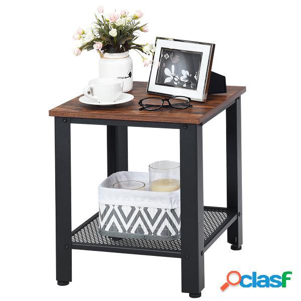 Costway table d'appoint industrielle table de chevet à 2 couches 40 x 40 x 45 5cm noir