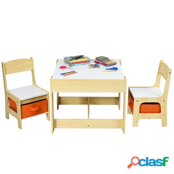 Costway ensemble table transformable en tableau et 2 chaises en bois pour enfants