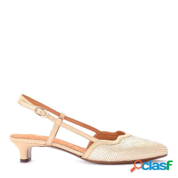 Sandales à talons chie mihara modèle rafia en cuir laminé platine