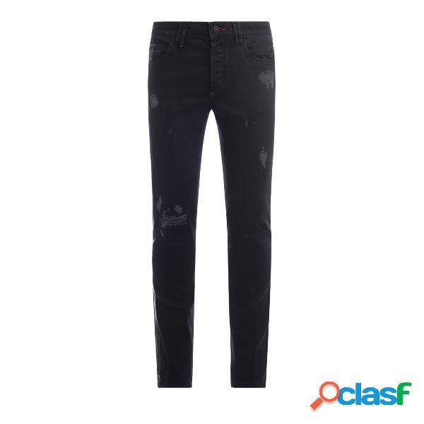 Jeans philipp plein skull en denim noir