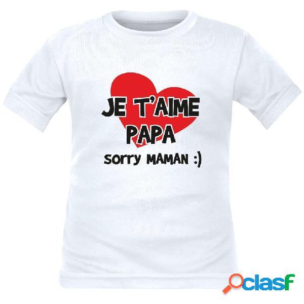T-shirt enfant rigolo: je t'aime papa - blanc 2 ans courtes
