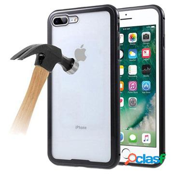 Coque magnétique iphone 7 plus / 8 plus avec dos en verre trempé - noire
