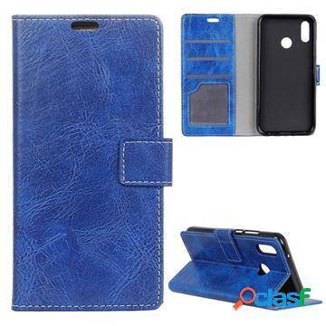 Étui portefeuille xiaomi redmi note 7, note 7 pro avec support - bleu
