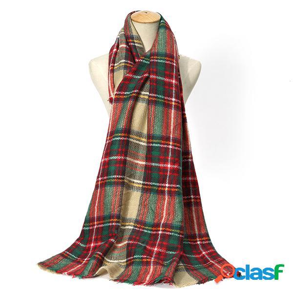Tartan plaid couverture écharpe pour femmes bandana chaud foulards carrés hiver écharpe châle couverture