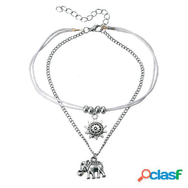 Vintage multicouche éléphant soleil charme cheville bohème cheville bracelets cheville anneaux plage bijoux