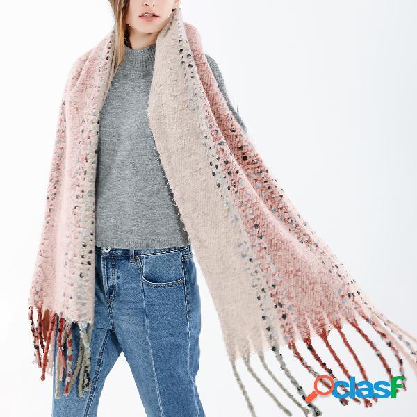 Femmes style ethnique gland laine mélange écharpe châle casual chaud respirant écharpe écran solaire