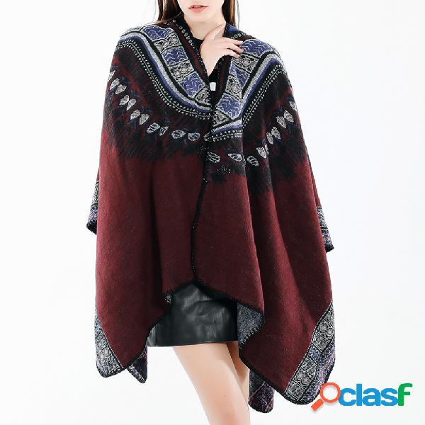 Femmes vintage style ethnique laine mélange écharpe châle casual soft écharpe chaude respirant