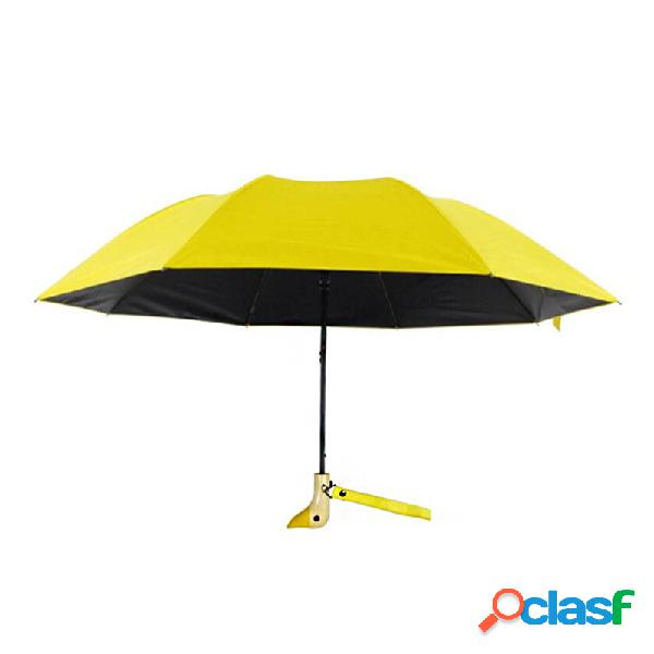 Parapluie pliant automatique beau manche en bois de canard parapluie coupe-vent parasol de camping