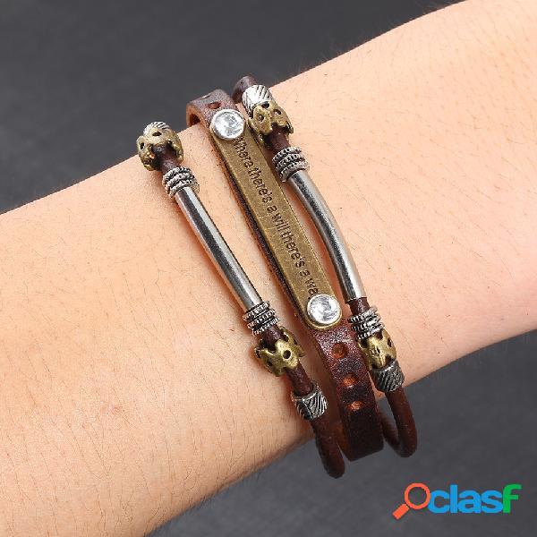 Vintage cuir métal pendentif multicouches bracelets punk accessoires occasionnels cadeau pour hommes