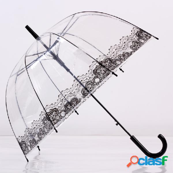 Parapluie transparent avec poignée longue bordure en dentelle à imprimé parasol fourniture de pluie
