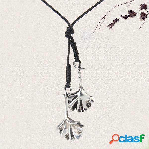 Vintage gingko double feuilles pendentif colliers à la main long collier bijoux cadeau pour les femmes