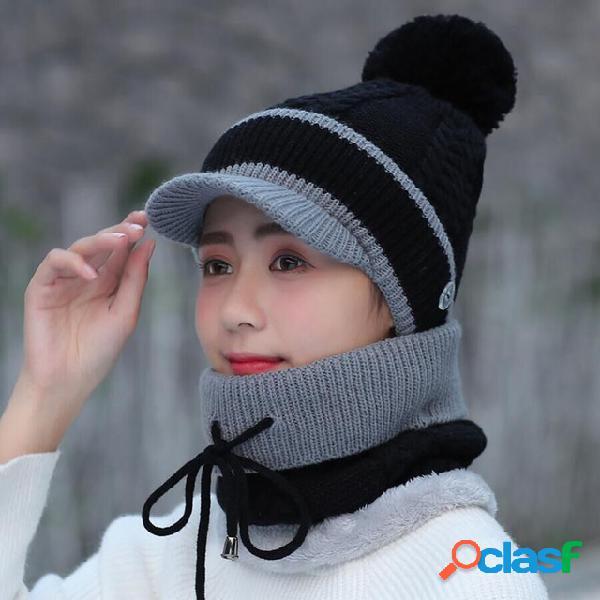 Bonnet et écharpe en laine beanie warm winter pom wooly cap