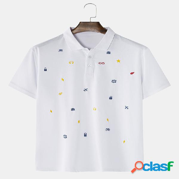Chemises de golf à manches courtes brodées à petit motif en coton pour hommes en blanc