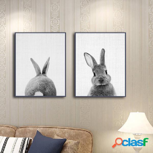 Combinaison peinte à la main peinture décorative peintures de lapin animal mur art décoration de la maison