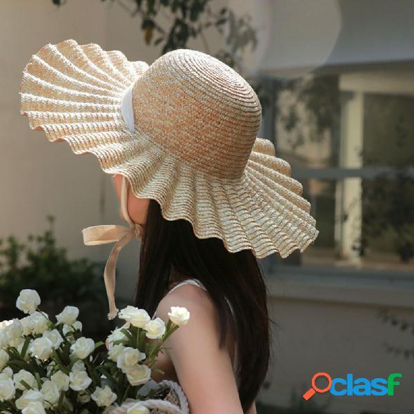 Vague côté dentelle paille chapeau de paille femme été dome motif de coquille grand chapeau chapeau