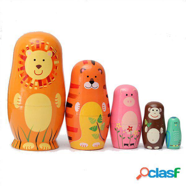 5pcs poupées gigognes en bois mignonnes poupées russes animaux matryoshka