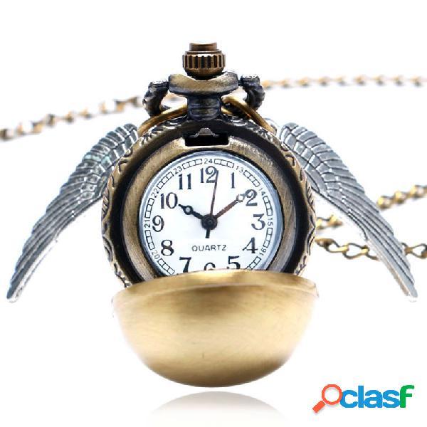 Montre de poche steampunk quidditch motif ailes or à quartz poche-montre mouchard avce chaîne longue pour homme femme